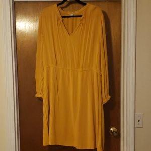 Yellow Midi Long Sleeve Dress